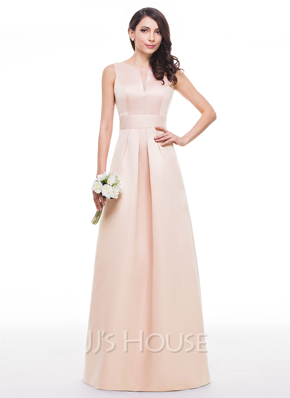 A Line Princess V Neck Floor Length Satin Bridesmaid Dress With Ruffle Loading Zoom
