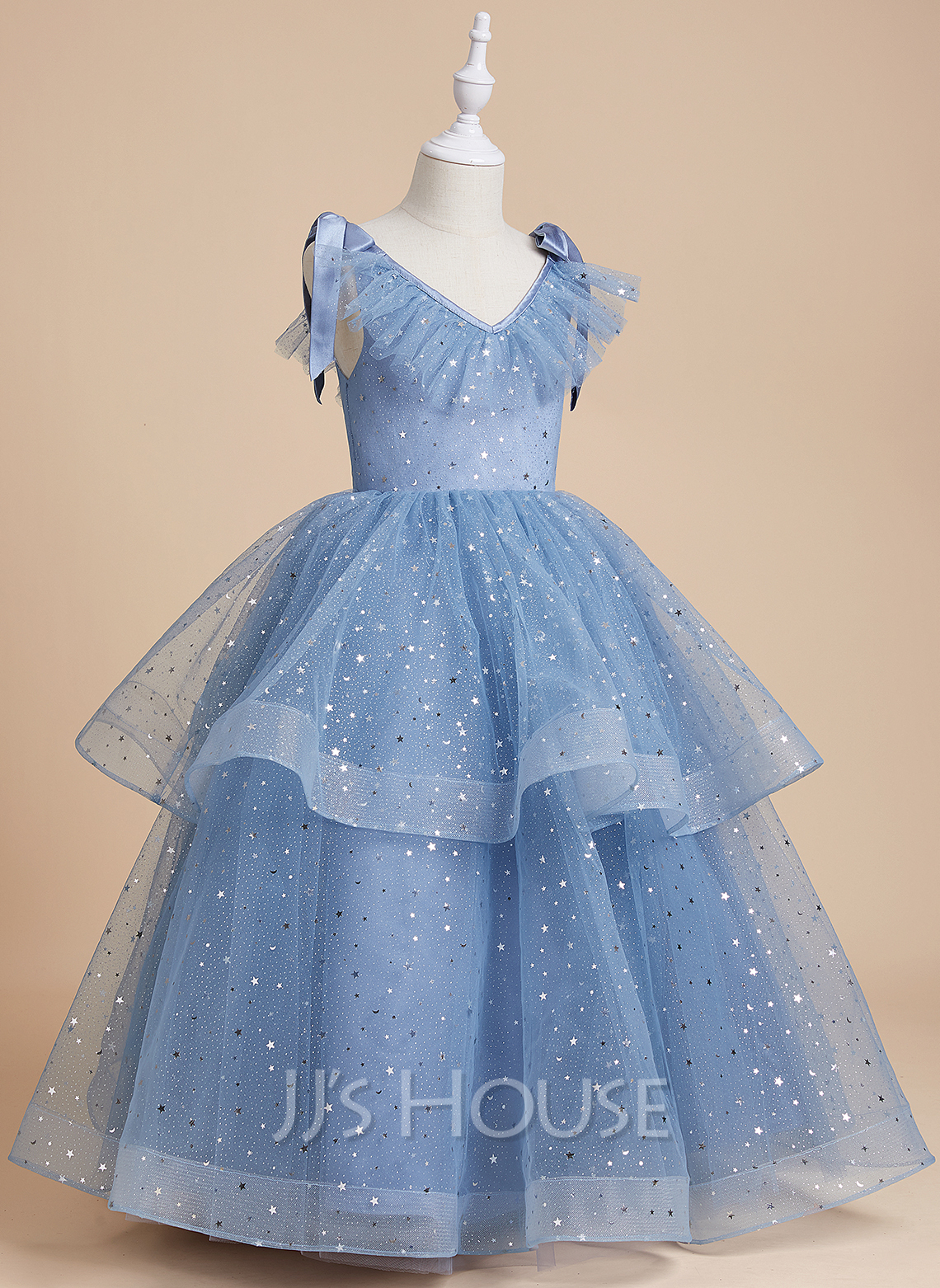 Ball-Gown/Princess Floor-length Flower Girl Dress - Satin/Tulle/Sequined Sleeveless V-neck With Bow(s)