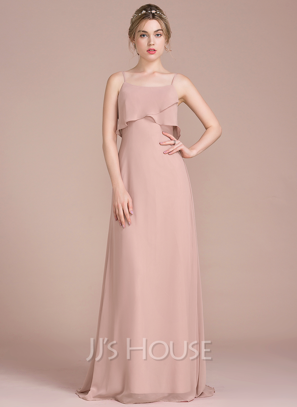 A-Line Sweep Train Chiffon Bridesmaid Dress With Cascading Ruffles