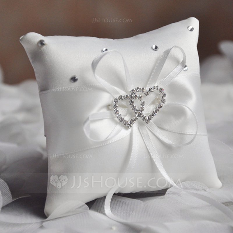 Elegant Ring Pillow in Satin/Polyester With Bow/Loving Hearts