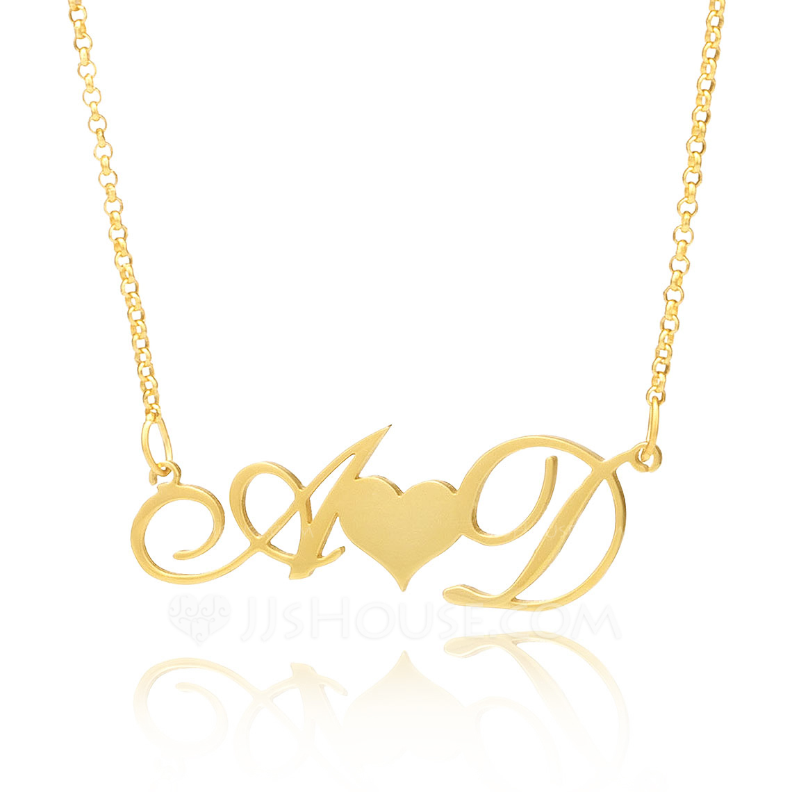 Custom 18k Gold Plated Silver Letter Two Heart Necklace Initial Necklace With Heart - Christmas Gifts