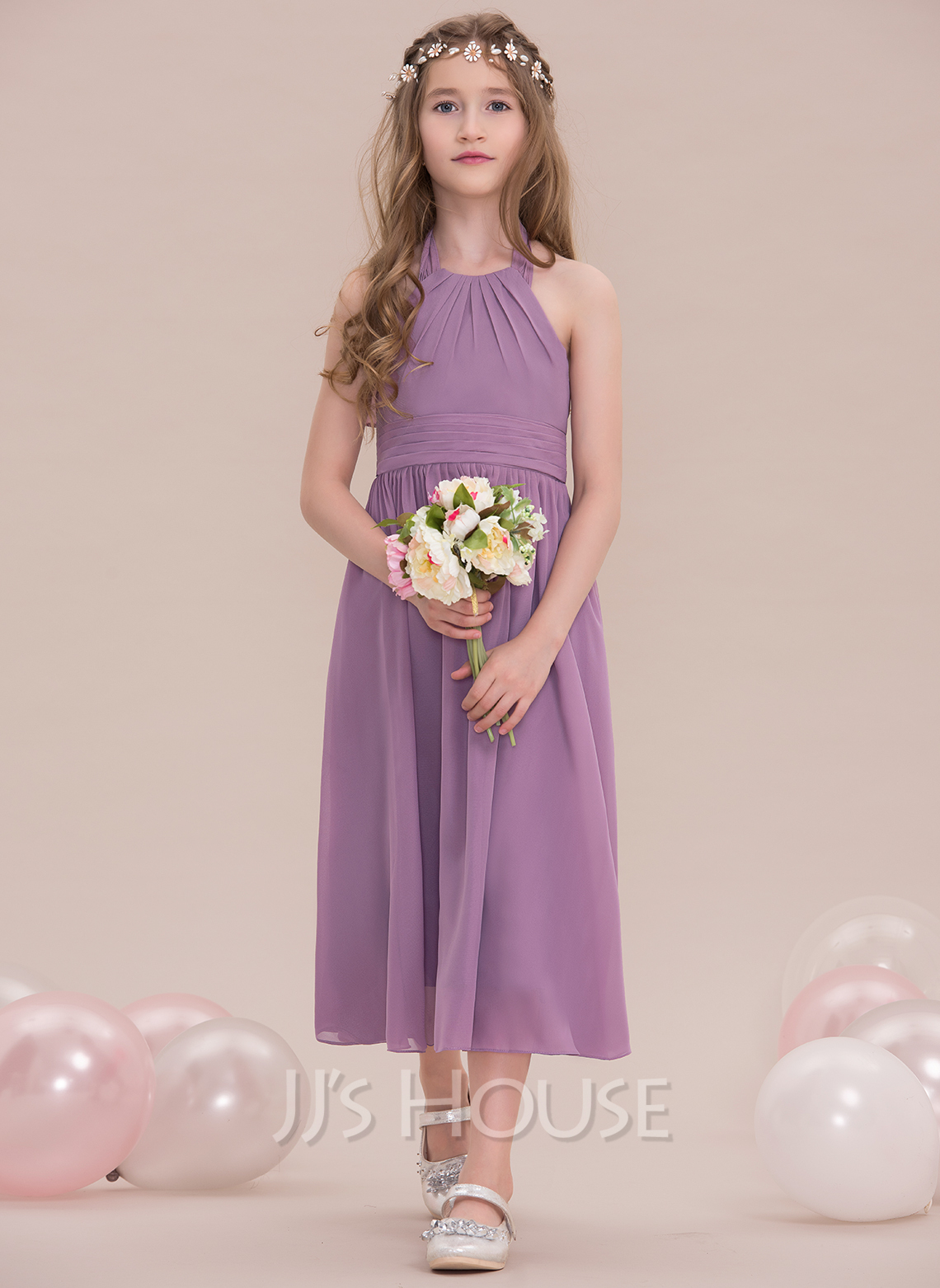A lineprincess halter tea length chiffon junior bridesmaid dress a lineprincess halter tea length chiffon junior bridesmaid dress with ruffle loading zoom ombrellifo Images