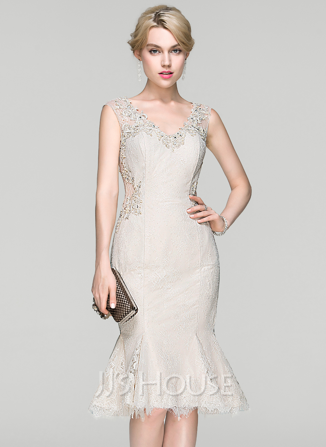 5ca8260de Trumpet Mermaid V-neck Knee-Length Lace Cocktail Dress With Beading  Sequins. Loading zoom