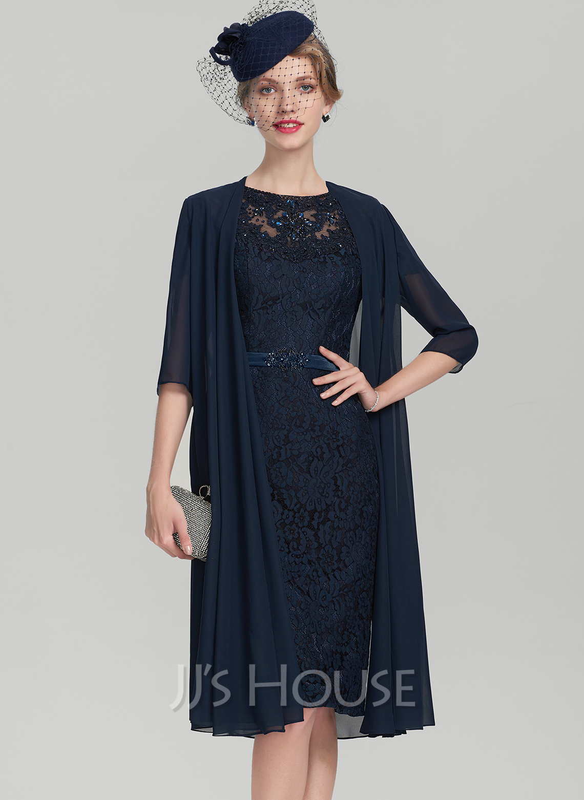 Sheath/Column Scoop Neck Knee-Length Charmeuse Lace Mother of the Bride Dress