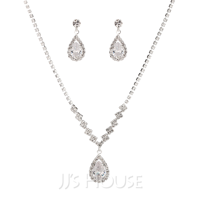 Gorgeous Copper With Rhinestone/Cubic Zirconia Ladies' Jewelry Sets