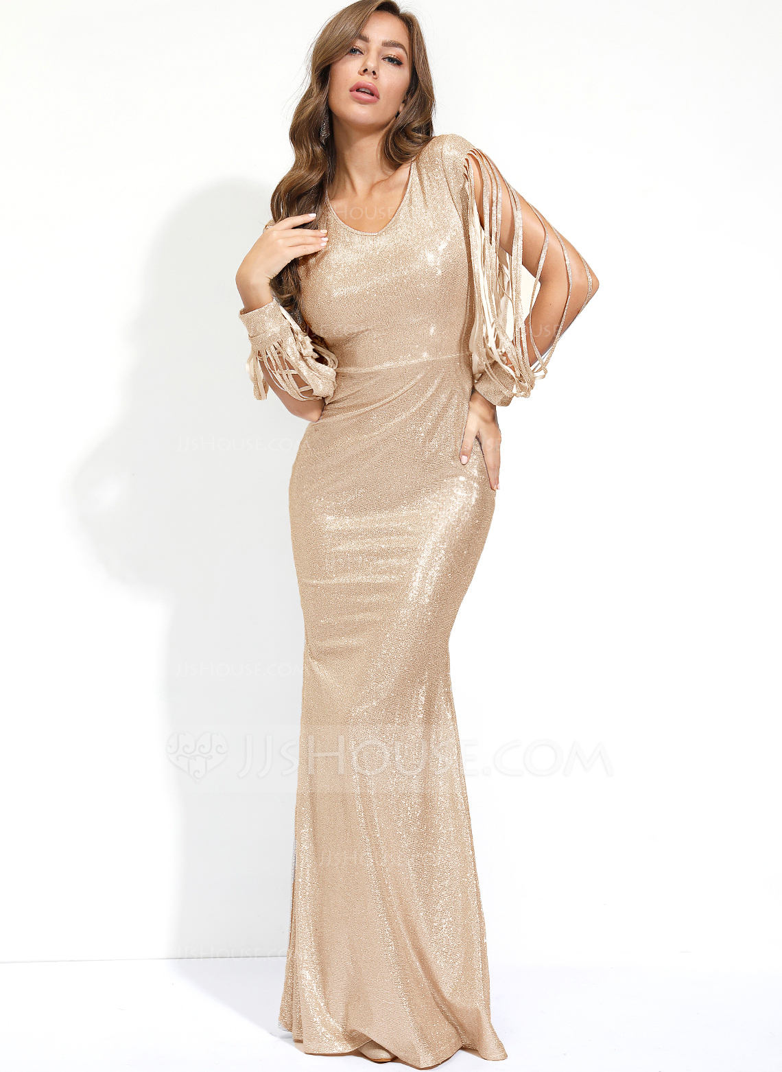 Polyester With Sequins Maxi Dress