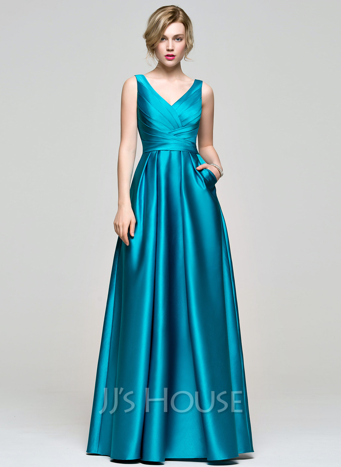 a69141e90b9a A-Line/Princess V-neck Floor-Length Satin Prom Dresses With Ruffle. Loading  zoom