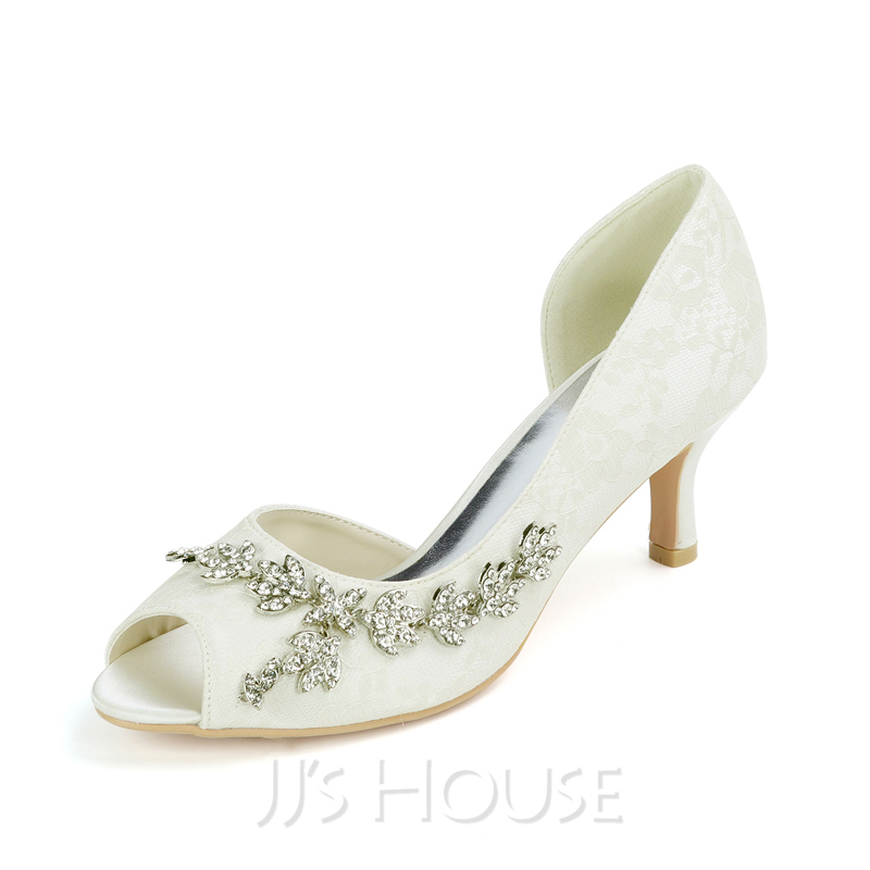 Women's Lace Satin Low Heel Peep Toe Pumps With Rhinestone