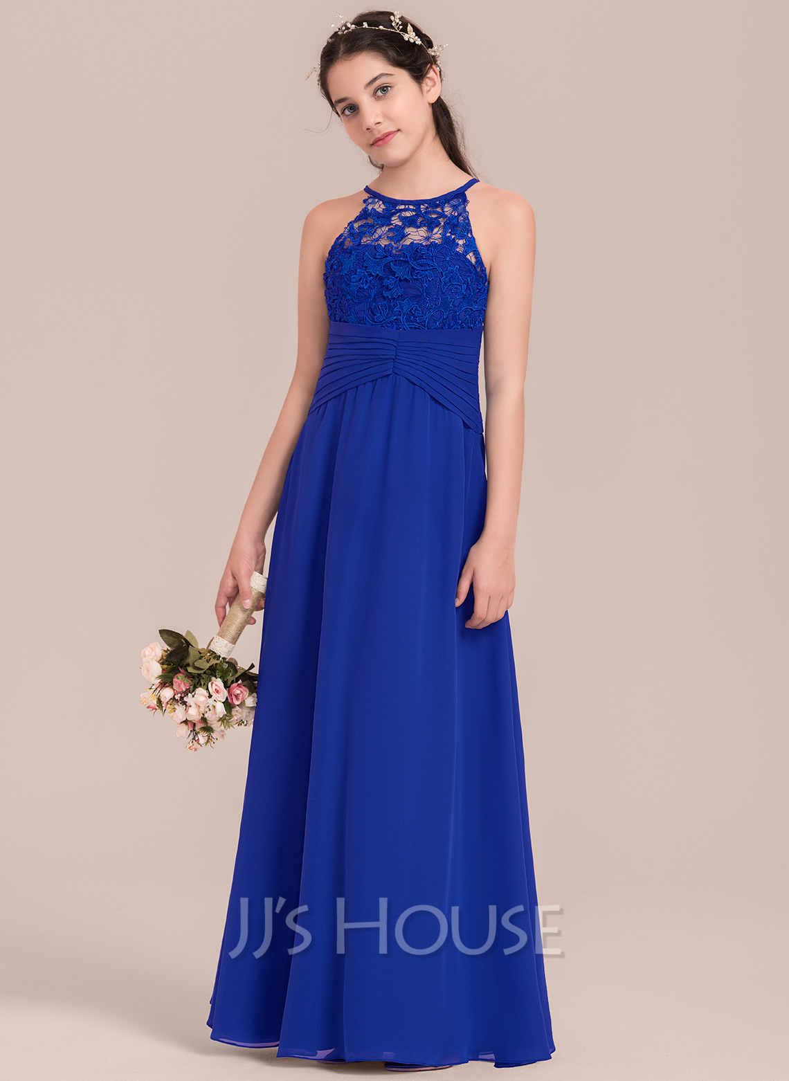 Custom made junior bridesmaid dresses jjshouse a lineprincess scoop neck floor length chiffon junior bridesmaid dress with ruffle ombrellifo Images