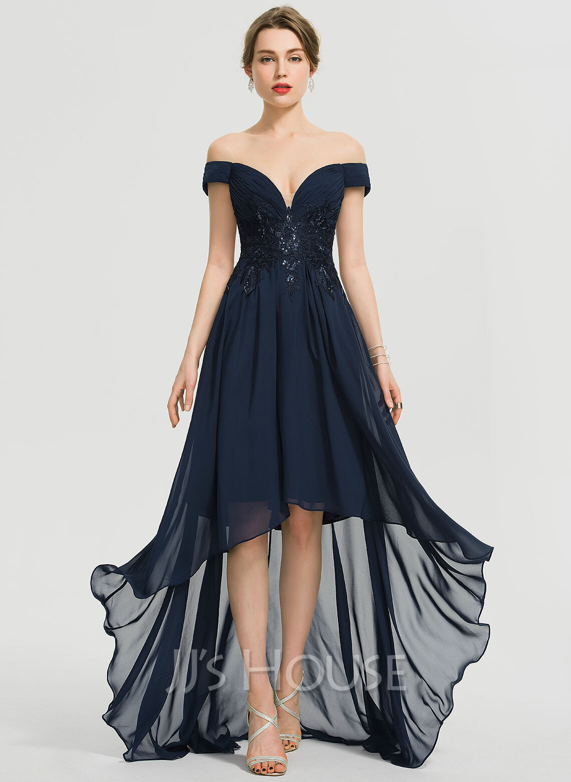 c7e8c7020f A-Line Off-the-Shoulder Asymmetrical Chiffon Prom Dresses With Sequins.  Loading zoom