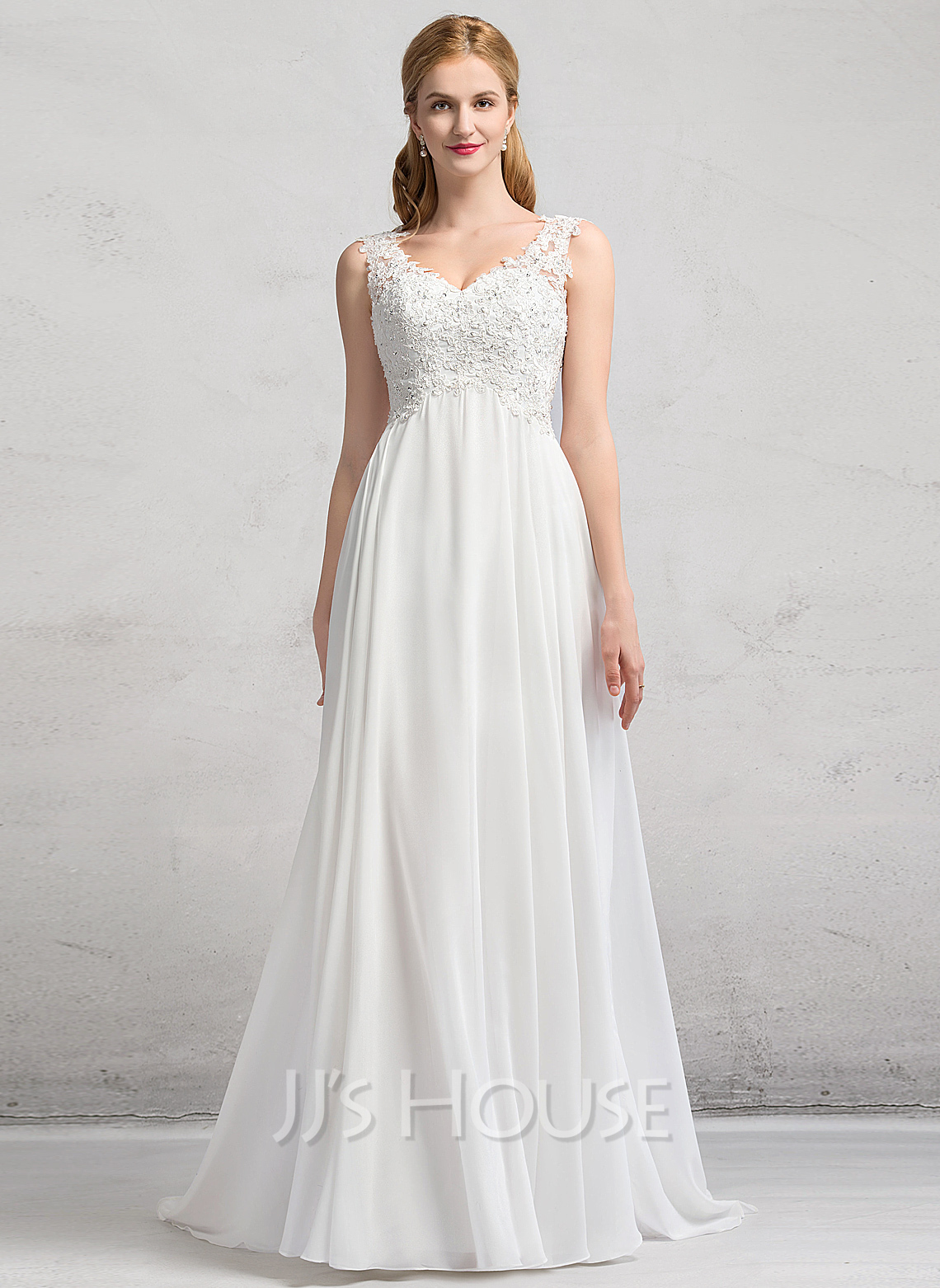 V-neck Sweep Train Chiffon Wedding Dress With Beading Sequins