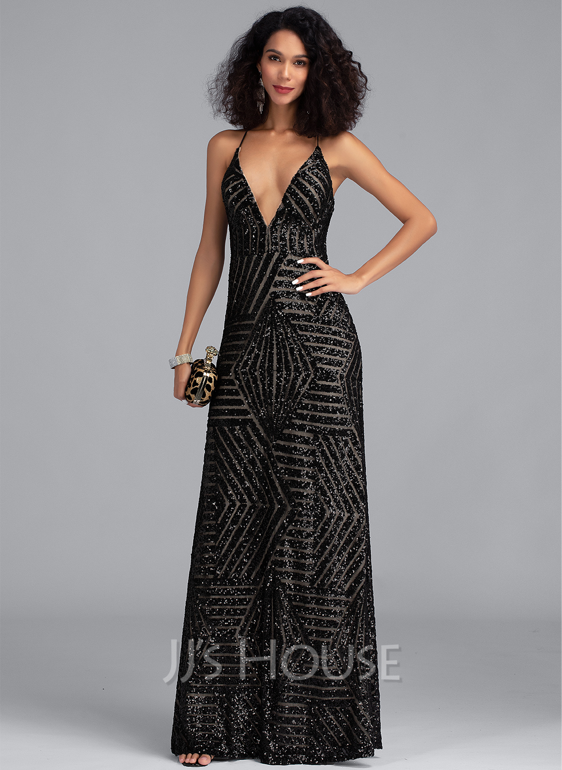 Sheath/Column V-neck Floor-Length Sequined Prom Dresses