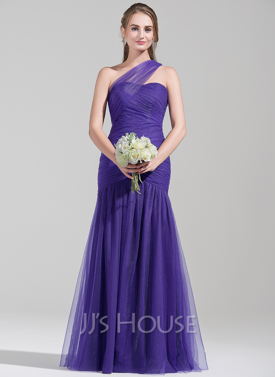 Trumpet/Mermaid One-Shoulder Floor-Length Tulle Bridesmaid Dress ...