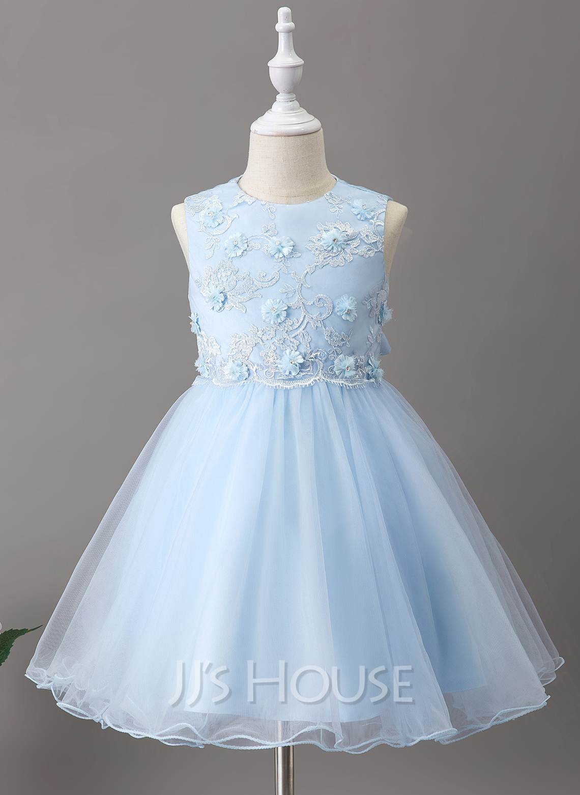 A-Line Knee-length Flower Girl Dress - Tulle/Lace Sleeveless Scoop Neck With Flower(s)