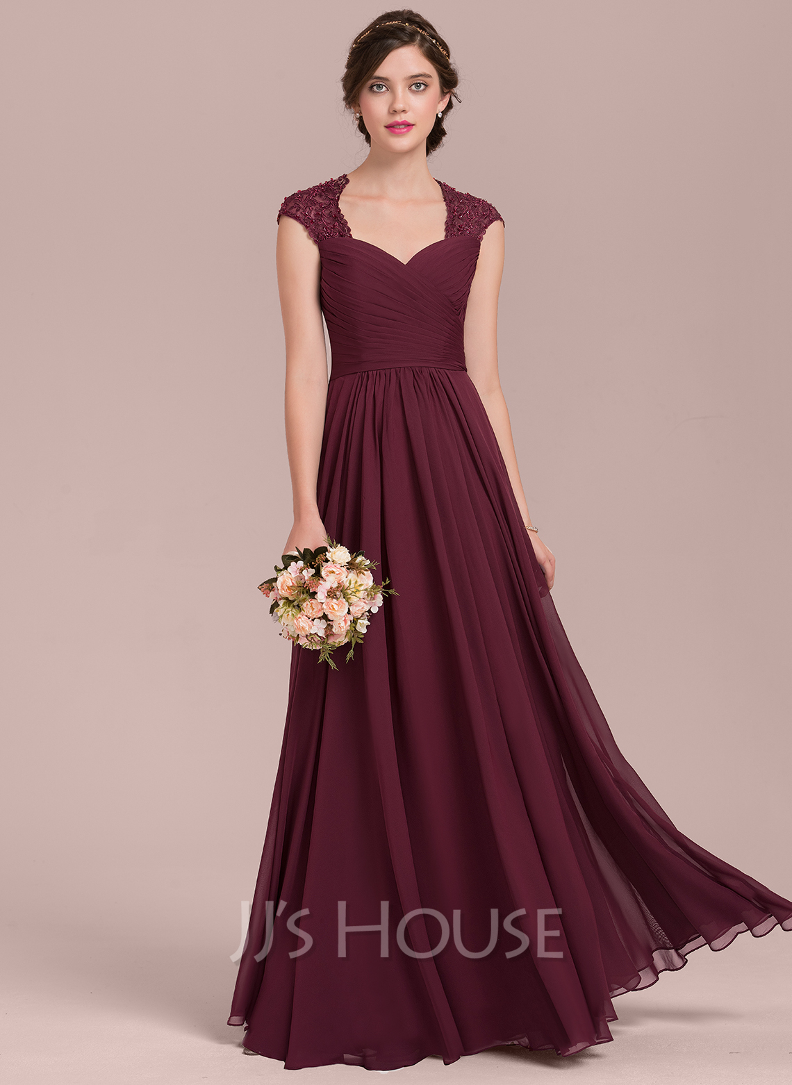 Sweetheart Floor-Length Chiffon Lace Bridesmaid Dress With Ruffle Beading