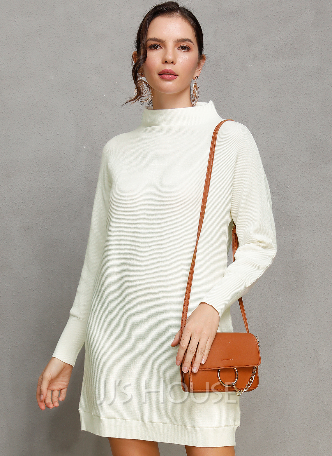 Solid Polyester Turtleneck High Neck Pullovers Sweater Dresses Above Knee Sweaters