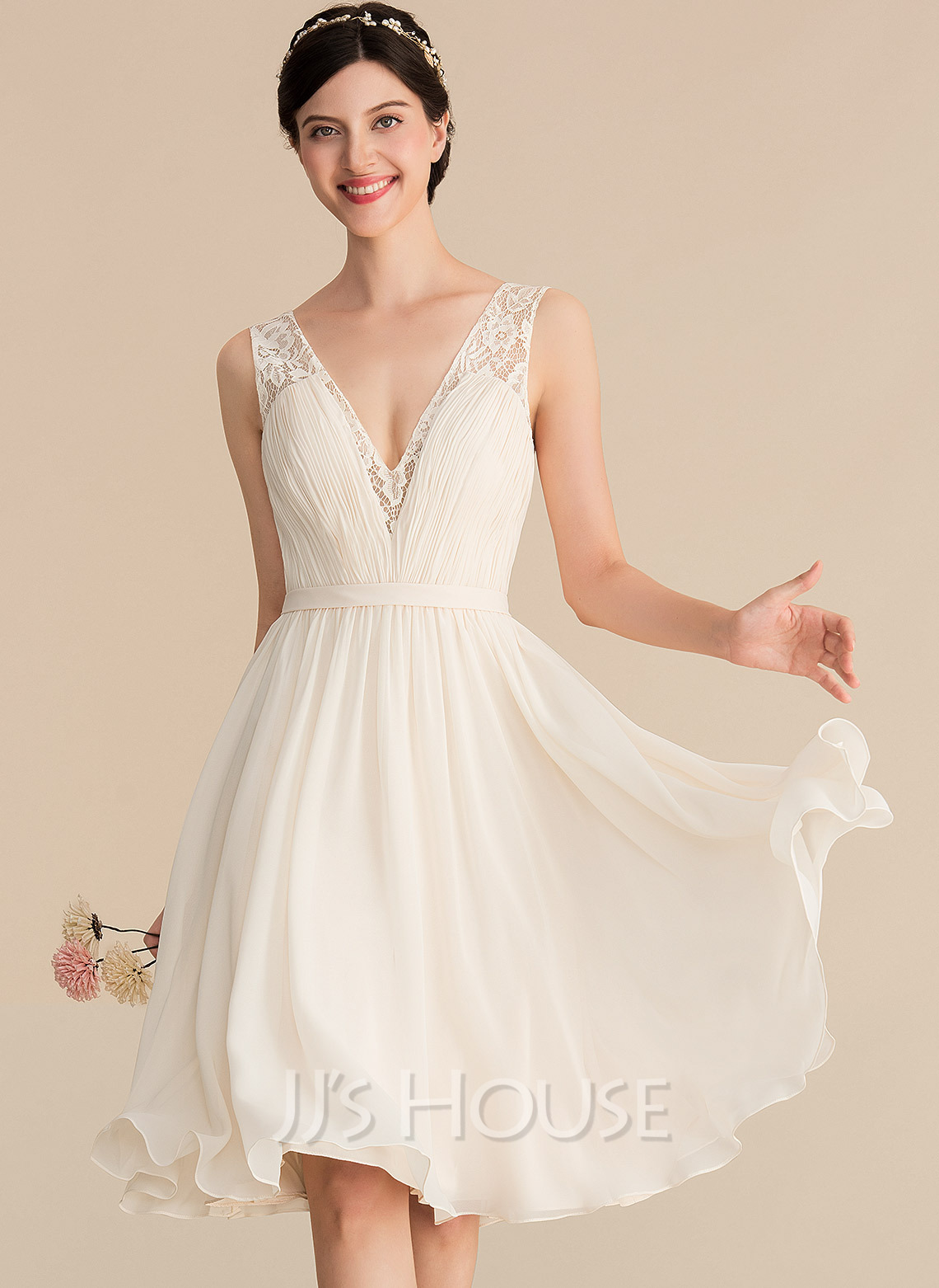 V-neck Knee-Length Chiffon Lace Wedding Dress With Ruffle