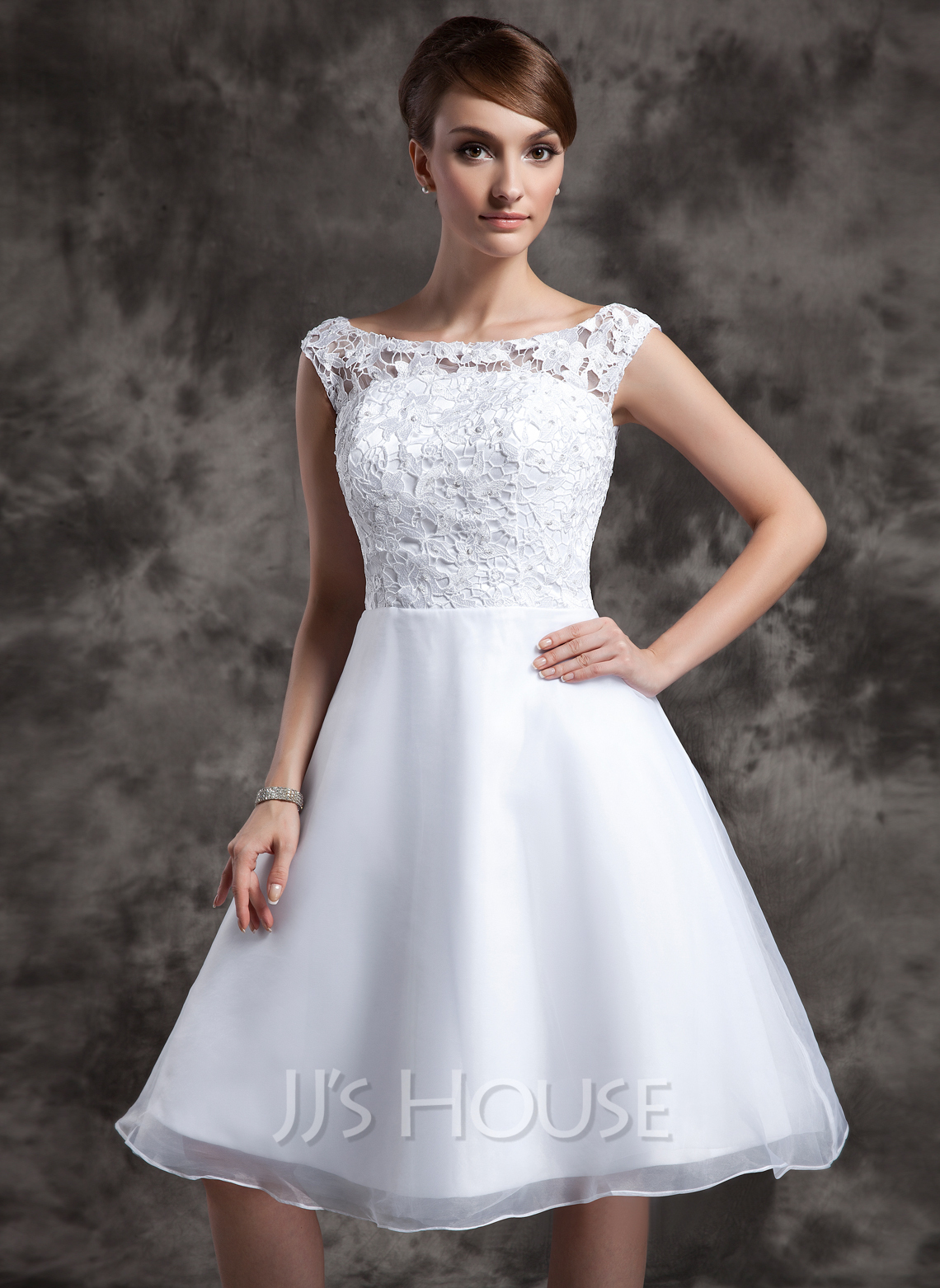 2cb2dac057 A-Line Princess Scoop Neck Knee-Length Organza Lace Wedding Dress. Loading  zoom