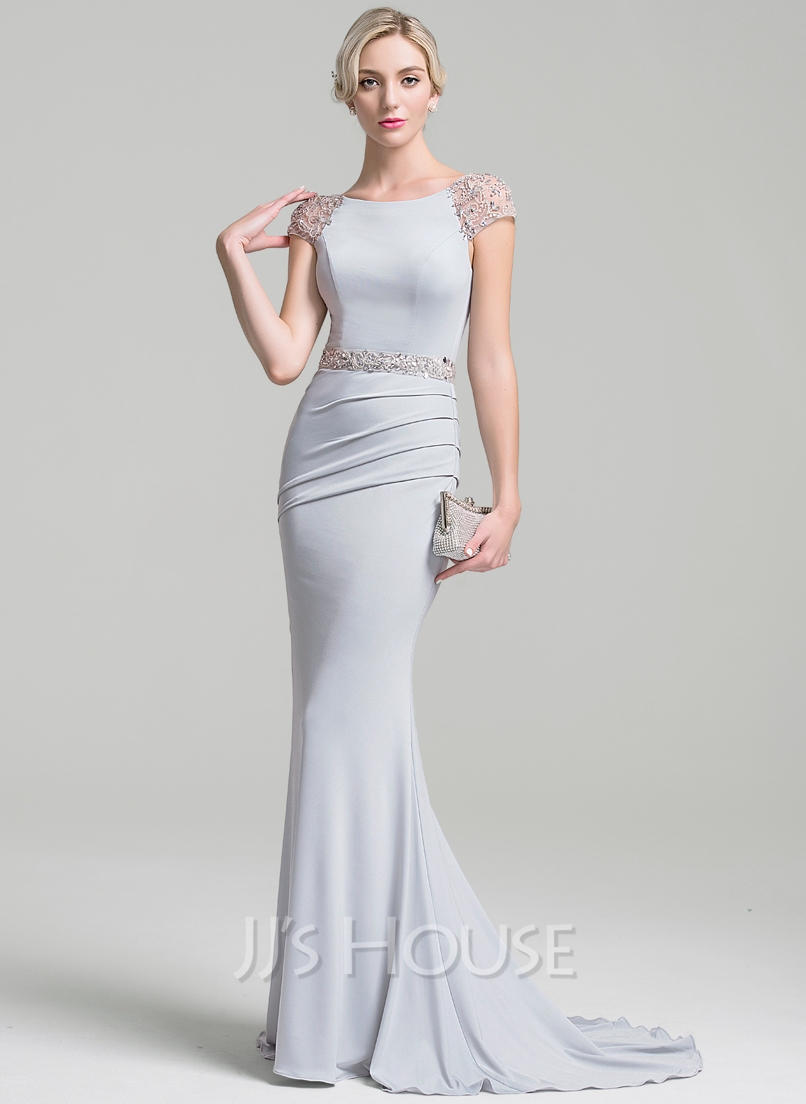 Trumpet/Mermaid Scoop Neck Sweep Train Jersey Mother of the Bride Dress With Ruffle Beading Sequins