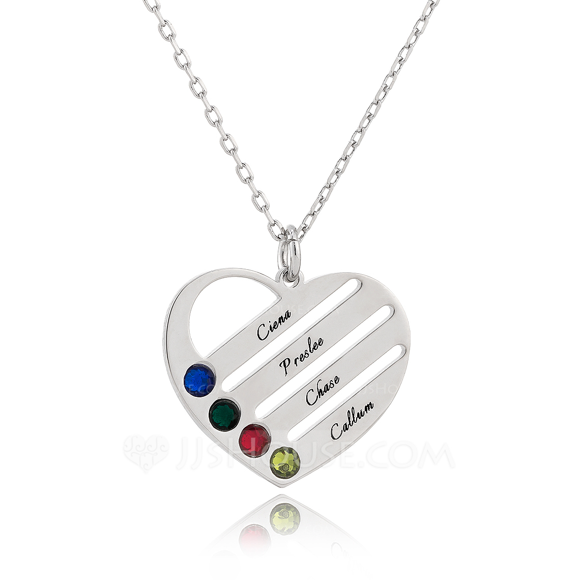 Custom Silver Engraving/Engraved Four Birthstone Necklace Family Necklace With Heart - Birthday Gifts Mother's Day Gifts