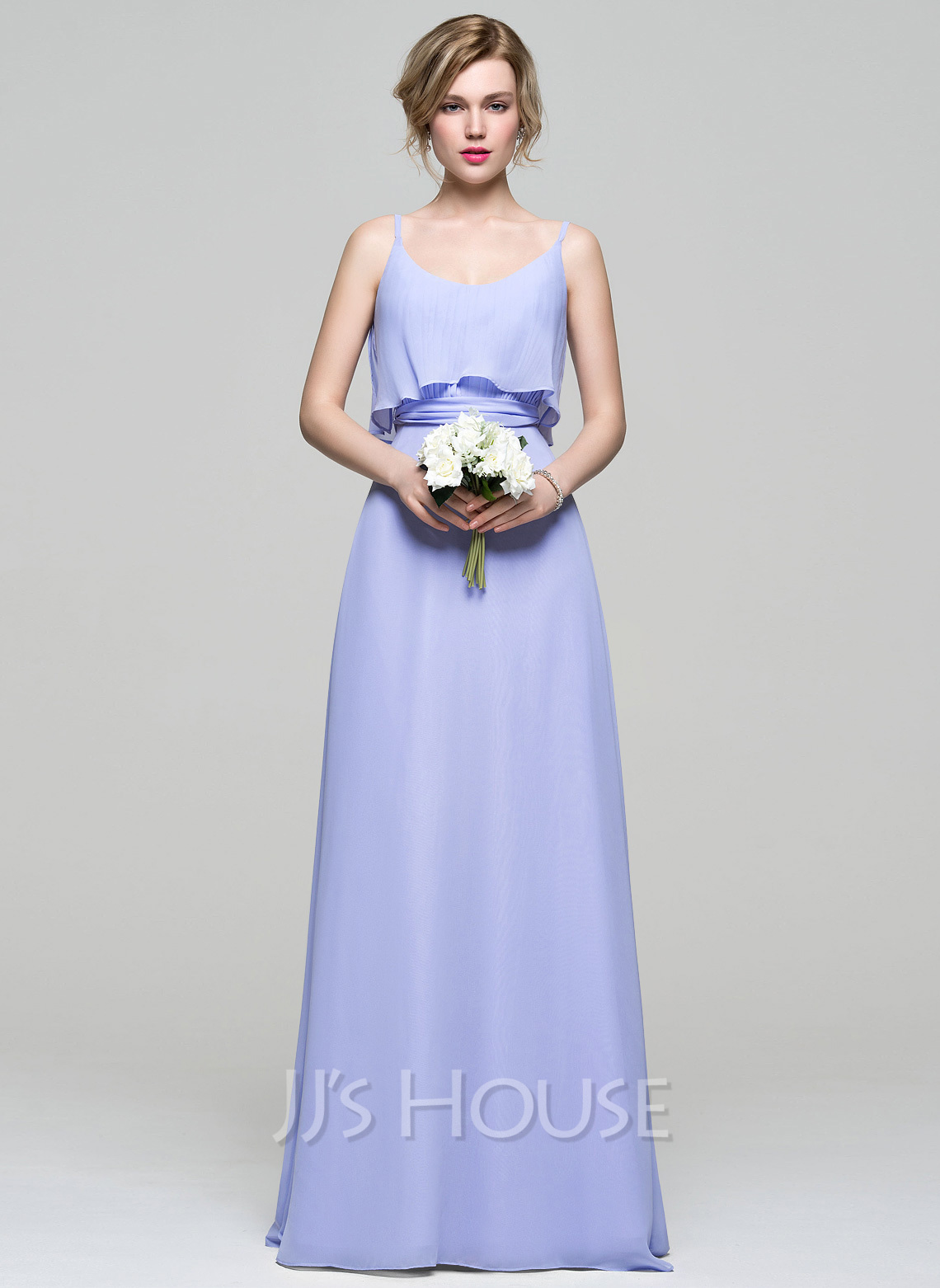 Scoop Neck Floor-Length Chiffon Bridesmaid Dress With Ruffle Bow(s)