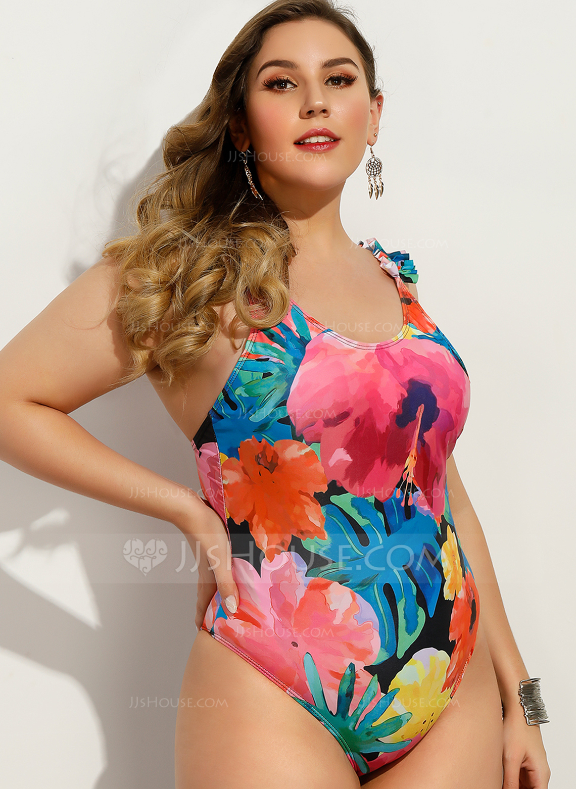 Sexy Tropical Print Chinlon Polyester One-piece