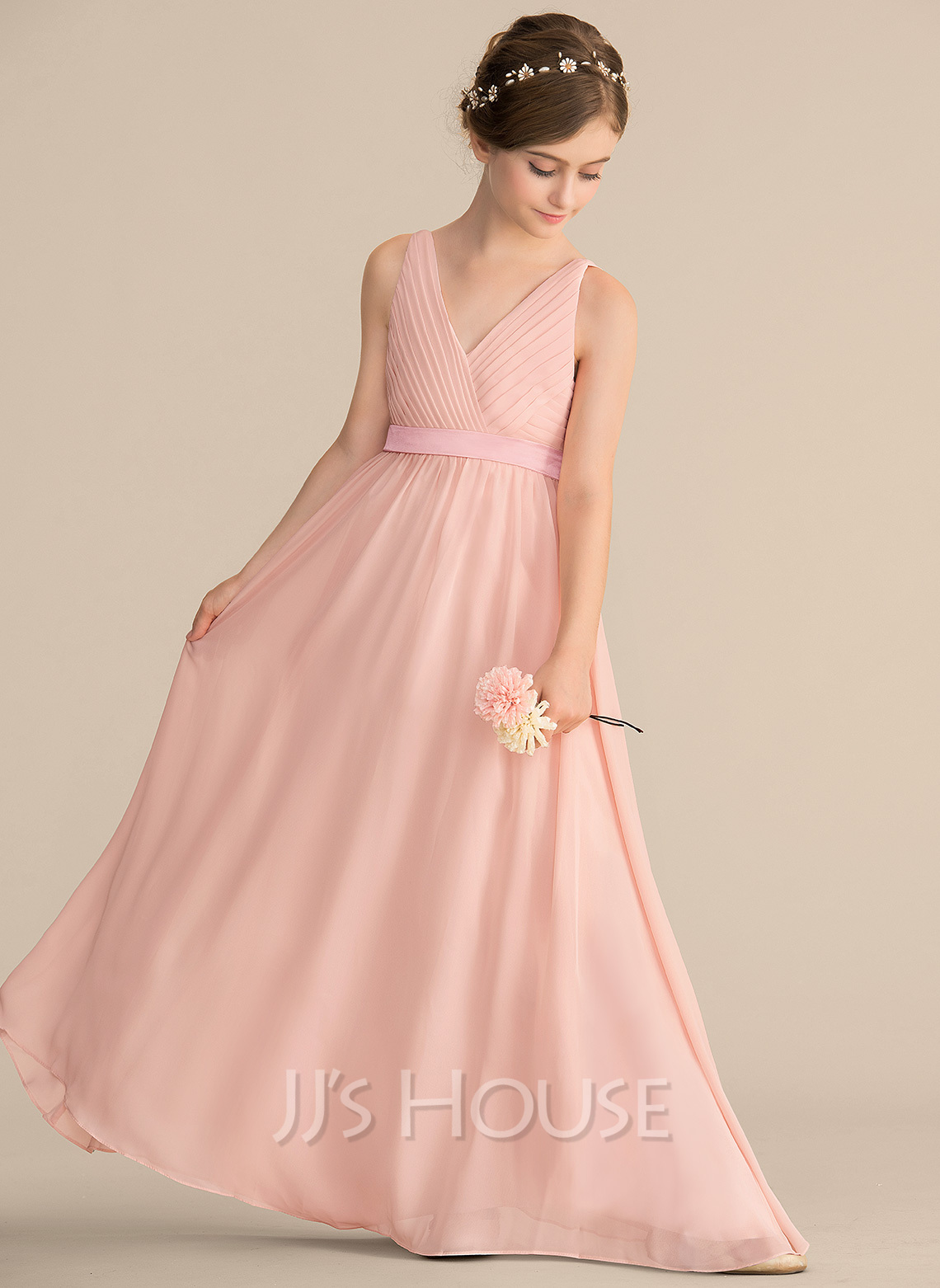 35bbc61ae065 A-Line/Princess V-neck Floor-Length Chiffon Junior Bridesmaid Dress With. Loading  zoom