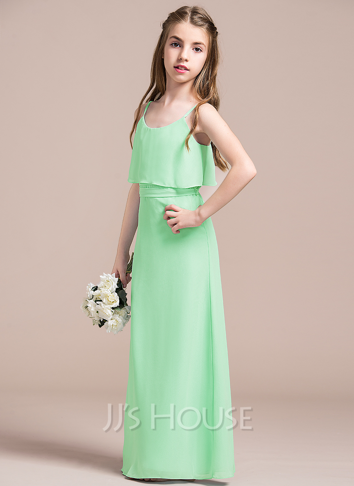 Scoop Neck Floor-Length Chiffon Junior Bridesmaid Dress With Bow(s)