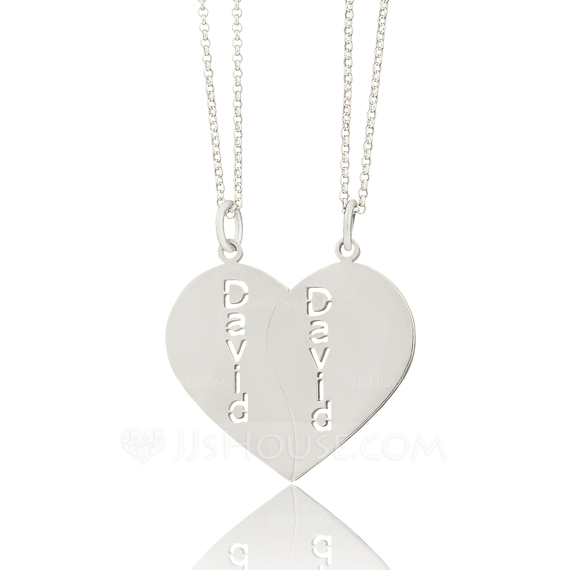 Custom Sterling Silver Heart Engraving/Engraved Couple Two Heart Necklace Engraved Necklace (Set of 2) - Christmas Gifts