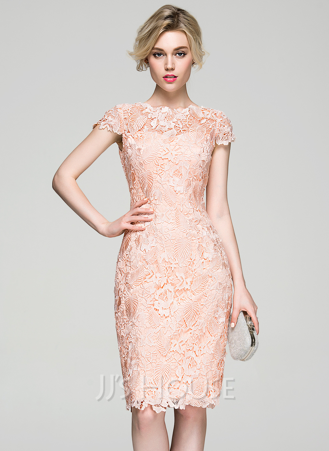Sheath/Column Scoop Neck Knee-Length Lace Cocktail Dress (016081199 ...