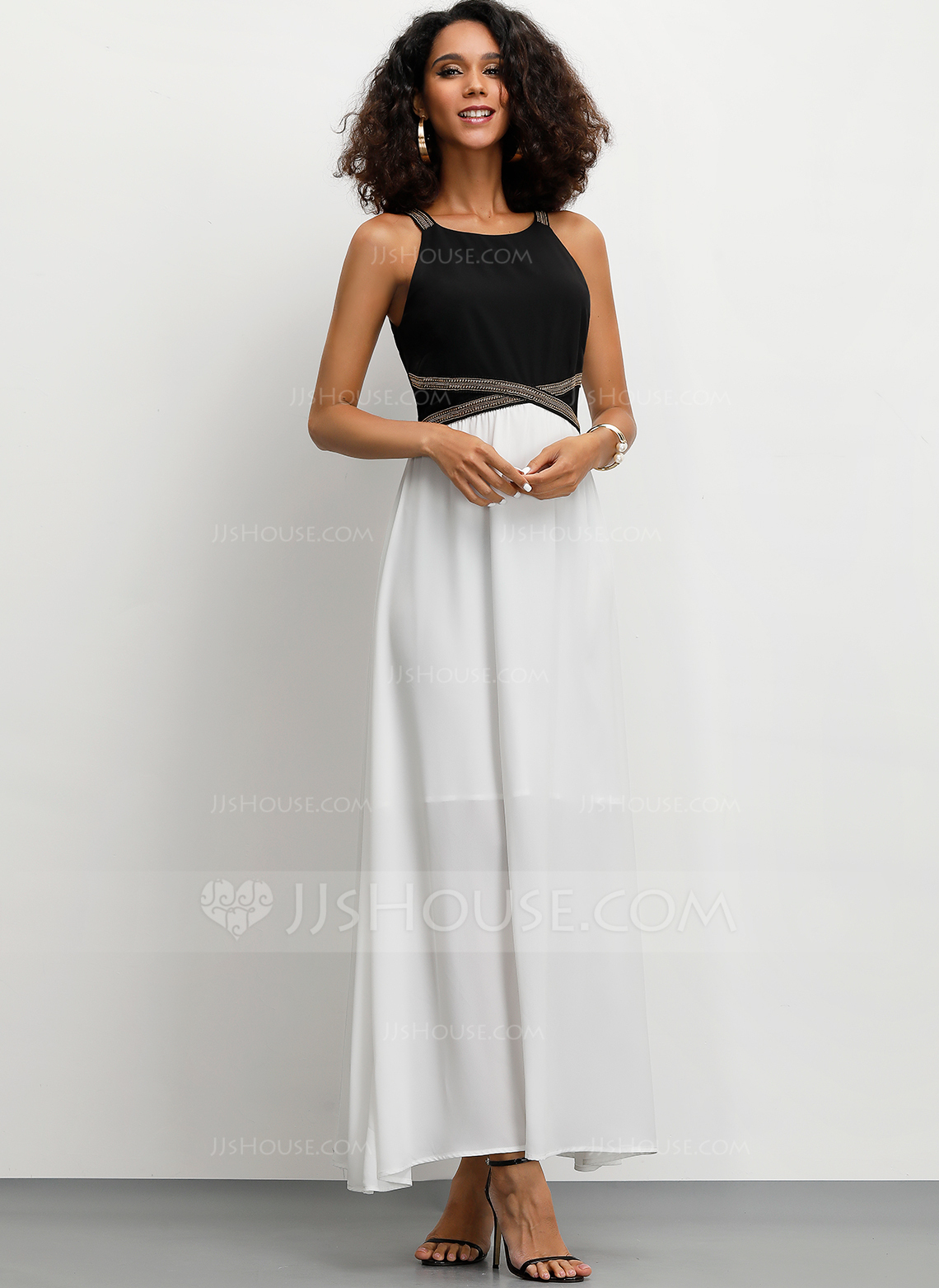Polyester/Spandex With Color-block Maxi Dress