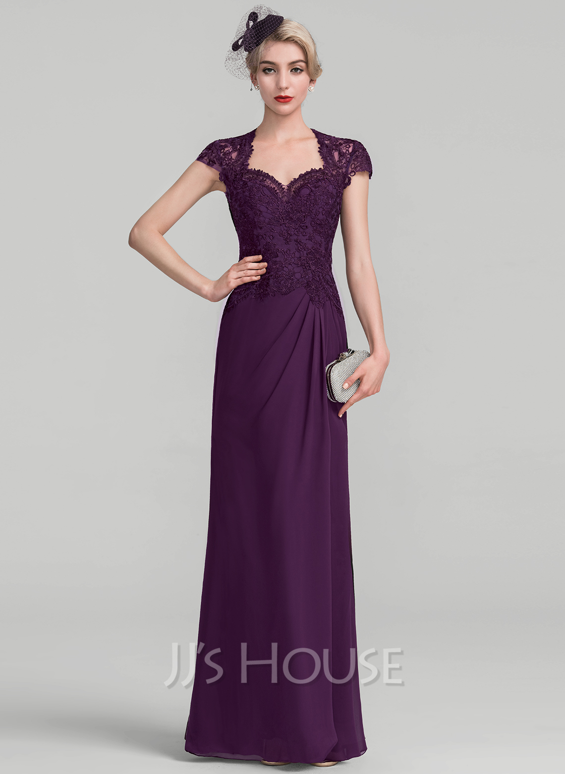 Sweetheart Floor-Length Chiffon Lace Evening Dress With Ruffle