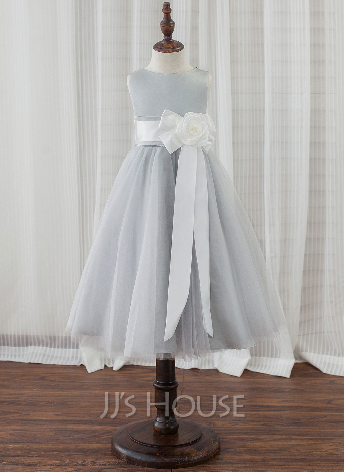 Tea-length Flower Girl Dress - Satin Tulle Sleeveless Scoop Neck With Flower(s)