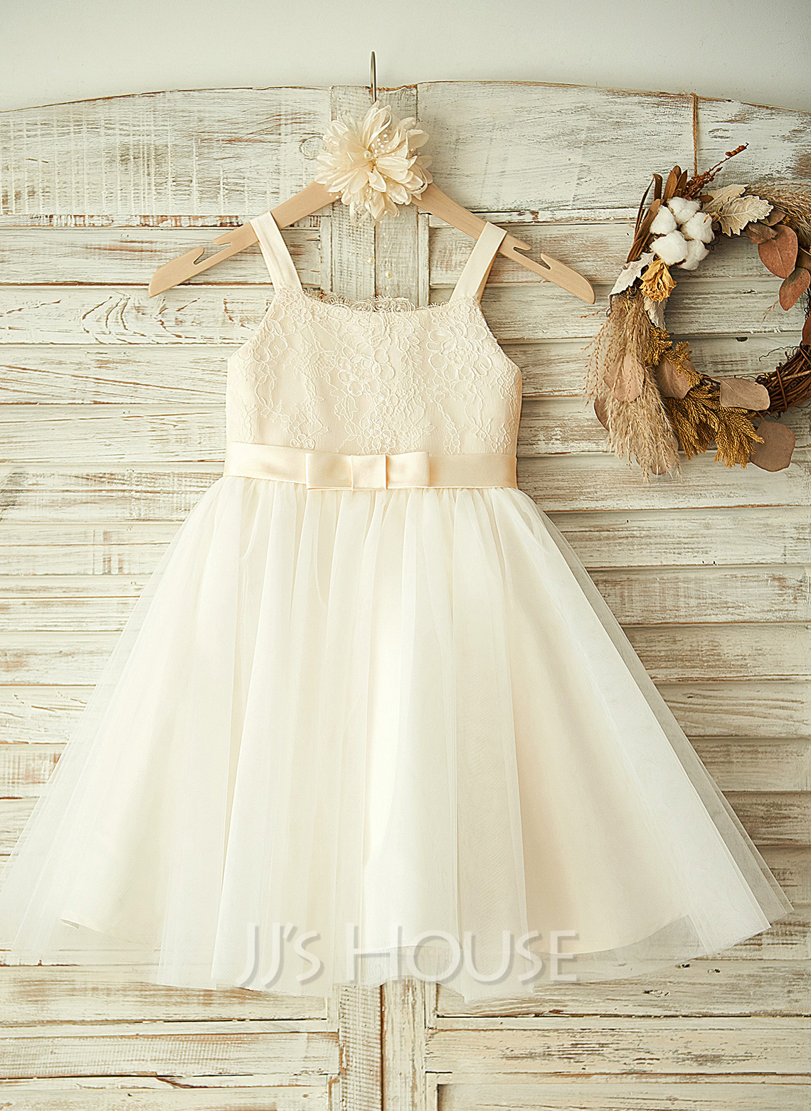 Knee-length Flower Girl Dress - Tulle Lace Sleeveless Straps With Lace Bow(s)