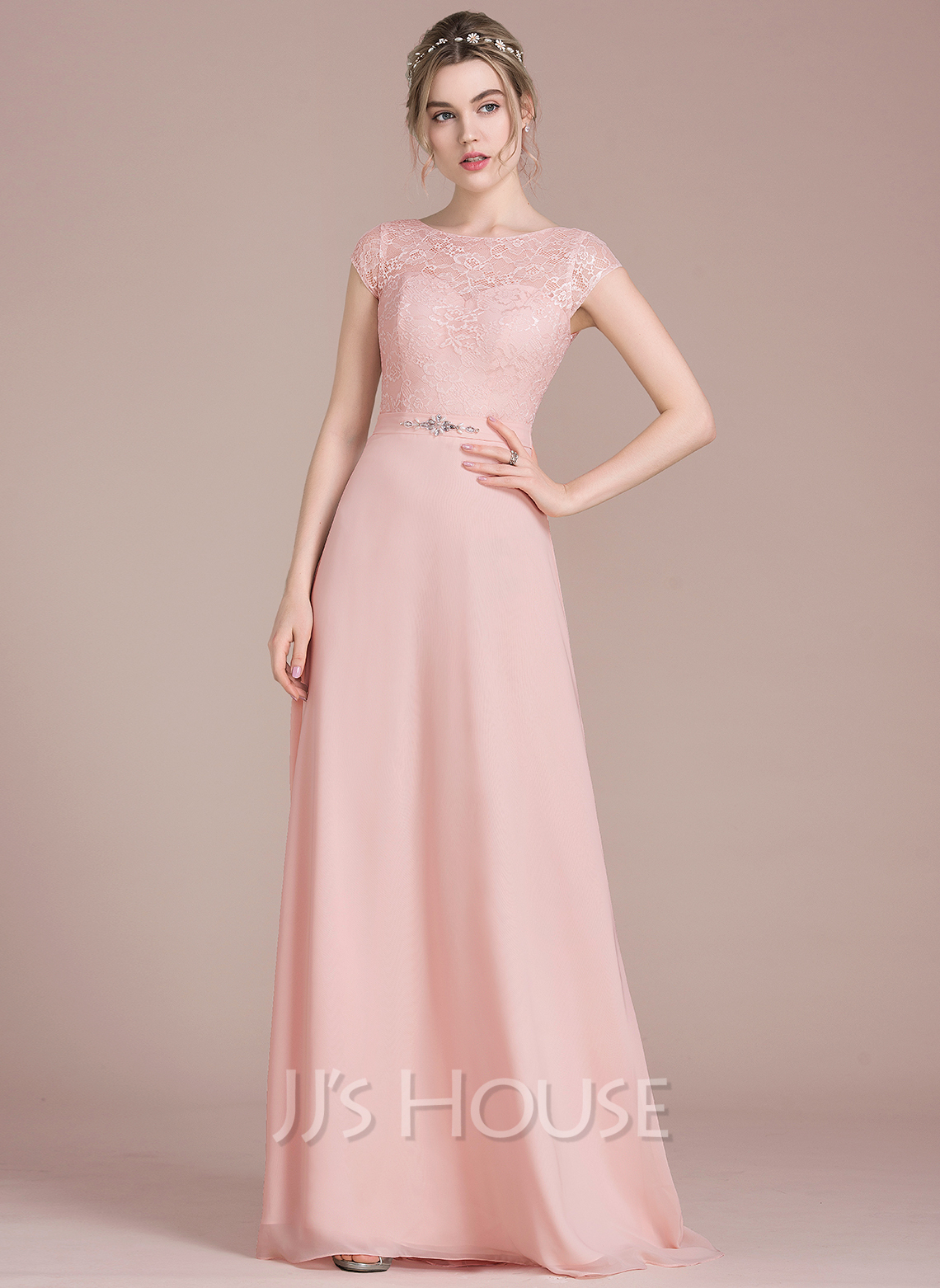 2dfbc790e0f A-Line Princess Scoop Neck Floor-Length Chiffon Lace Prom Dresses With  Beading. Loading zoom