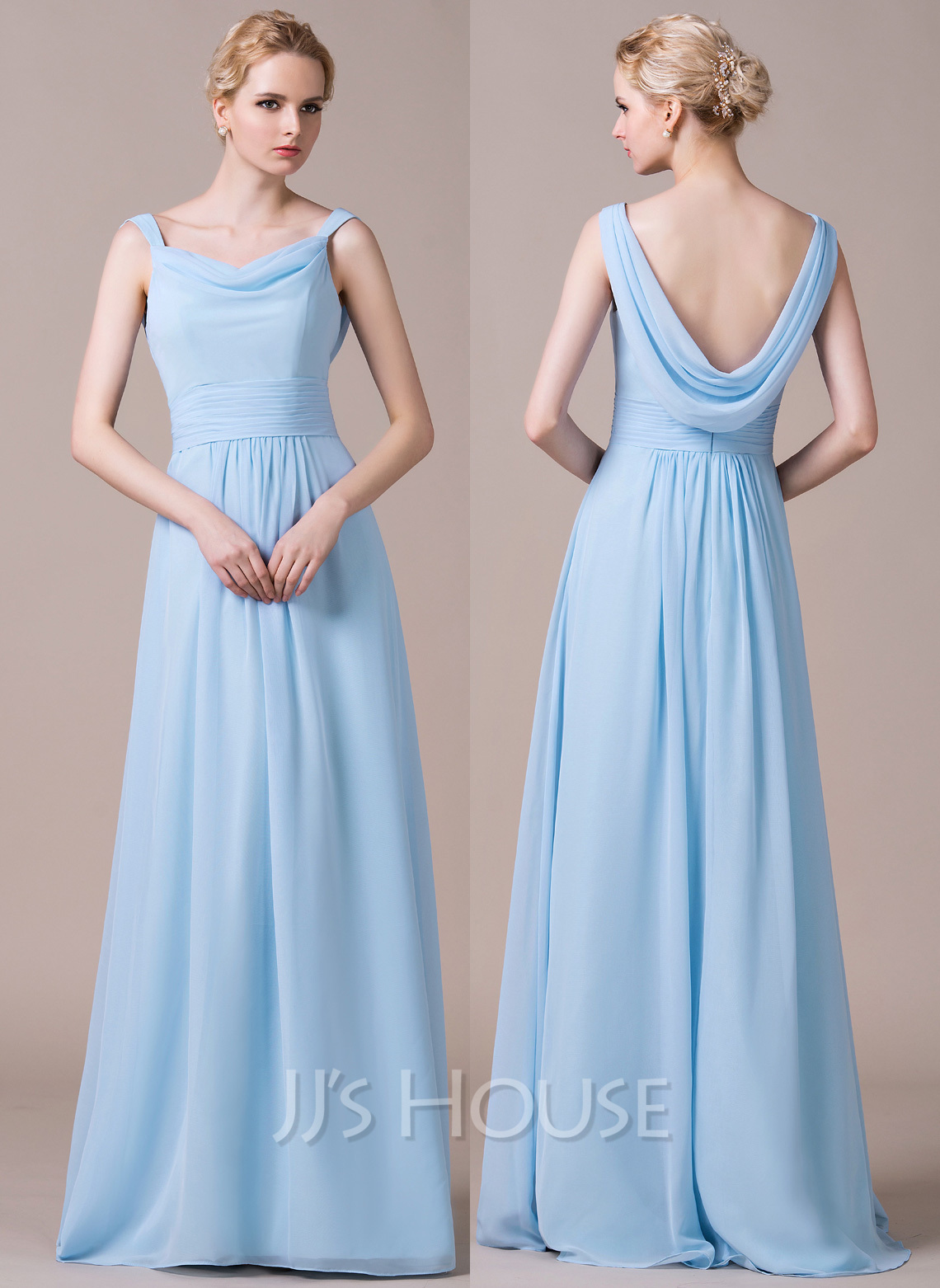 A-Line/Princess Cowl Neck Floor-Length Chiffon Bridesmaid Dress With ...