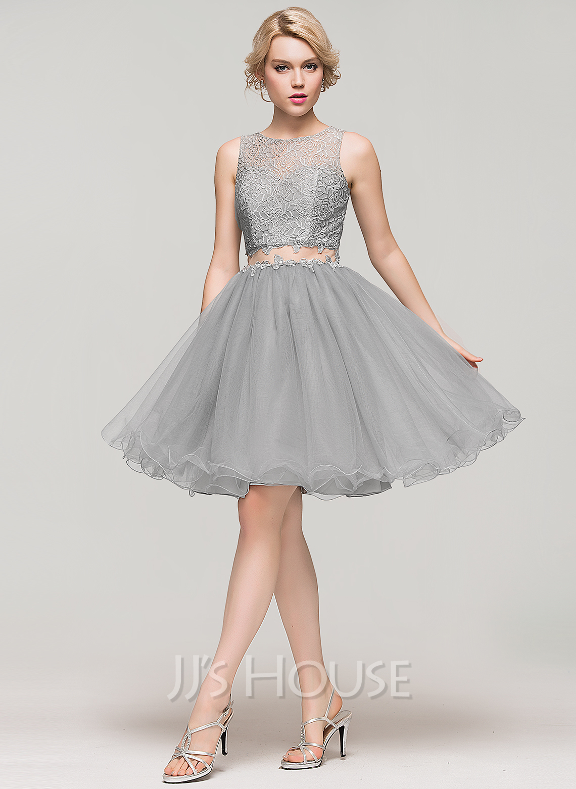 ace39a3d2d3 A-Line Princess Scoop Neck Knee-Length Tulle Lace Cocktail Dress With  Beading. Loading zoom
