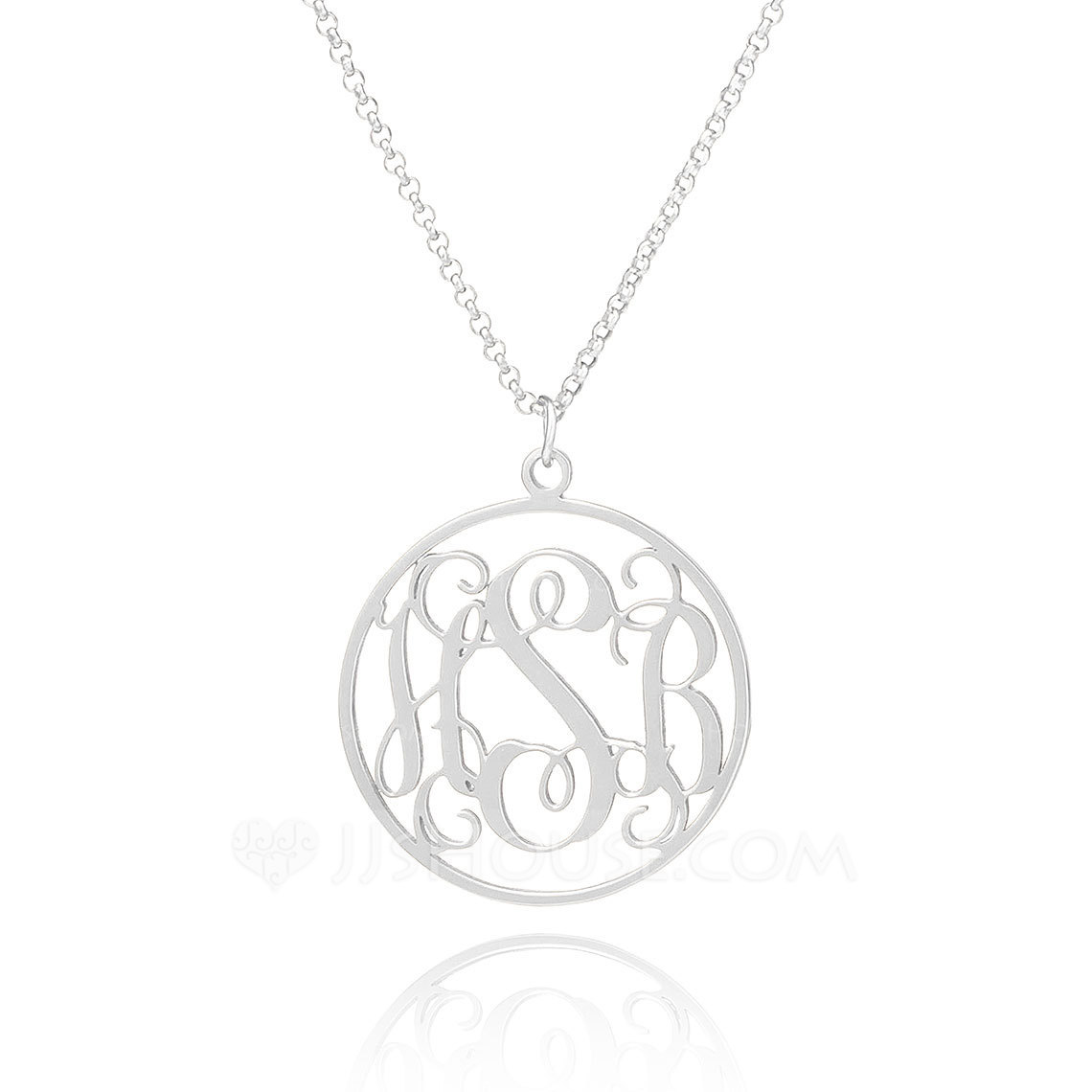 Custom Sterling Silver Three Monogram Necklace Circle Necklace - Birthday Gifts Mother's Day Gifts
