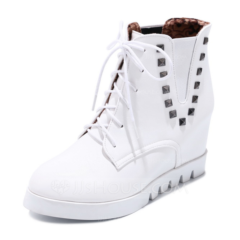 499ec65f2d Women's Leatherette Low Heel Platform Boots With Lace-up shoes. Loading zoom