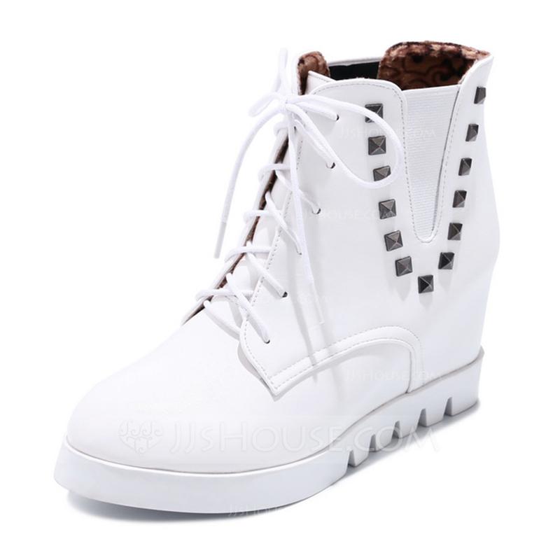 9229c0731b9 Kvinnor Konstläder Låg Klack Plattform Stövlar med Bandage skor. Loading  zoom