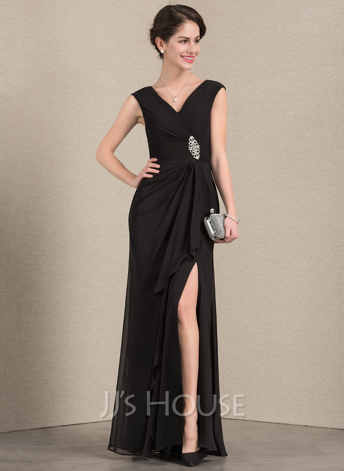 V-neck Floor-Length Chiffon Mother of the Bride Dress With Beading Split Front Cascading Ruffles