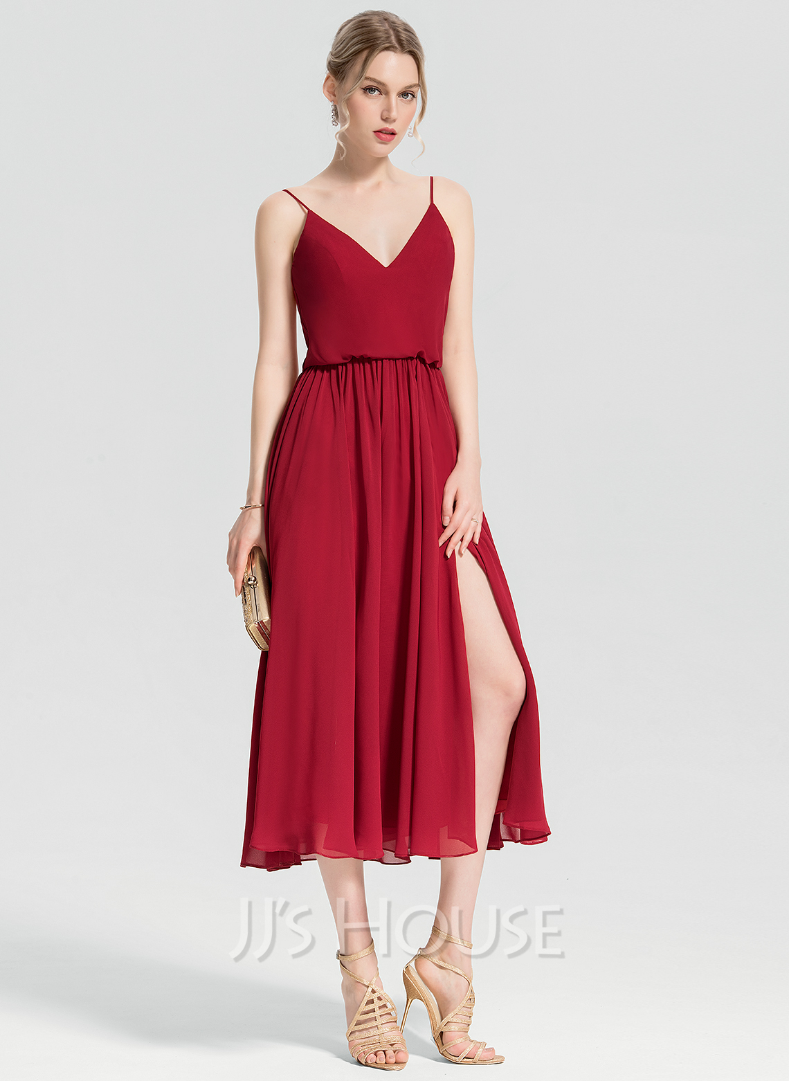 V-neck Tea-Length Chiffon Cocktail Dress