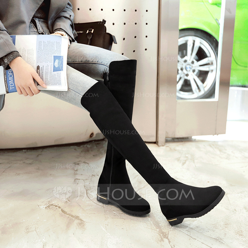 ffcaeb842d Women's Suede Flat Heel Boots Knee High Boots With Zipper shoes. Loading  zoom