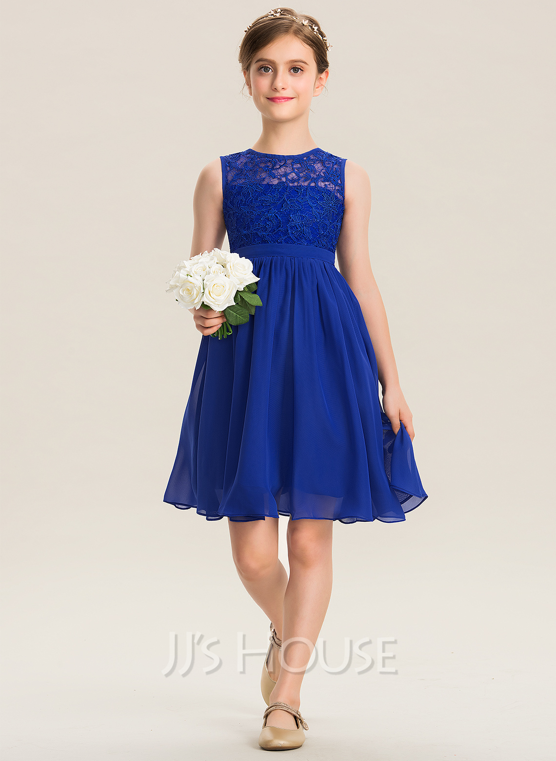 Scoop Neck Knee-Length Chiffon Lace Junior Bridesmaid Dress