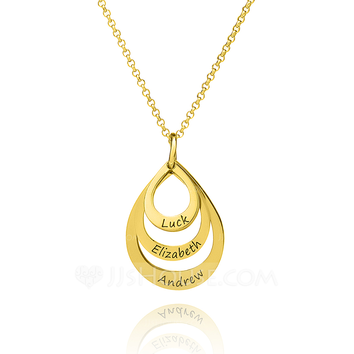 [Free Shipping]Custom 18k Gold Plated Silver Circle Three Engraved Necklace Family Necklaces With Kids Names