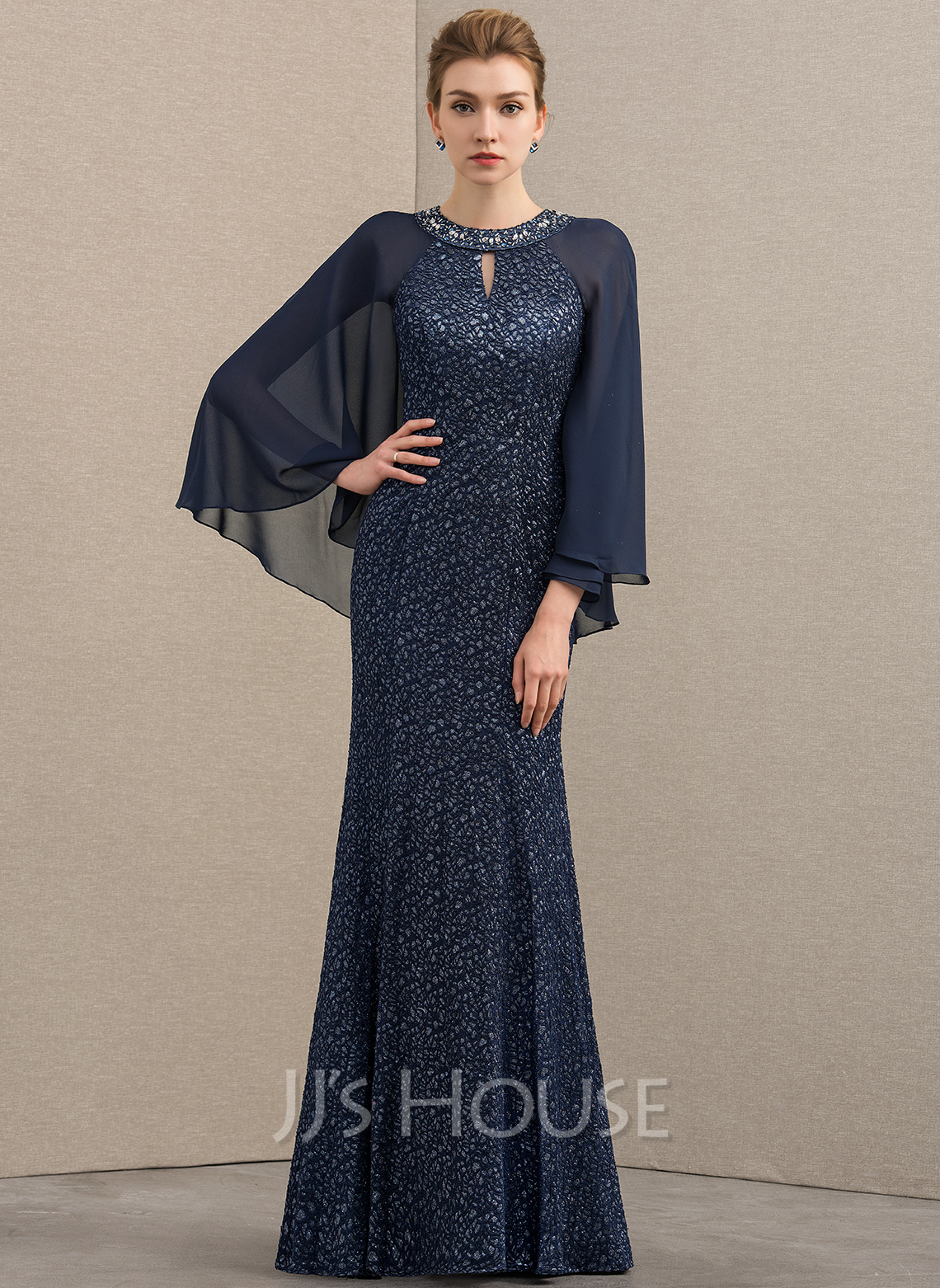 Trumpet/Mermaid Scoop Neck Floor-Length Chiffon Lace Mother of the Bride Dress With Beading Sequins