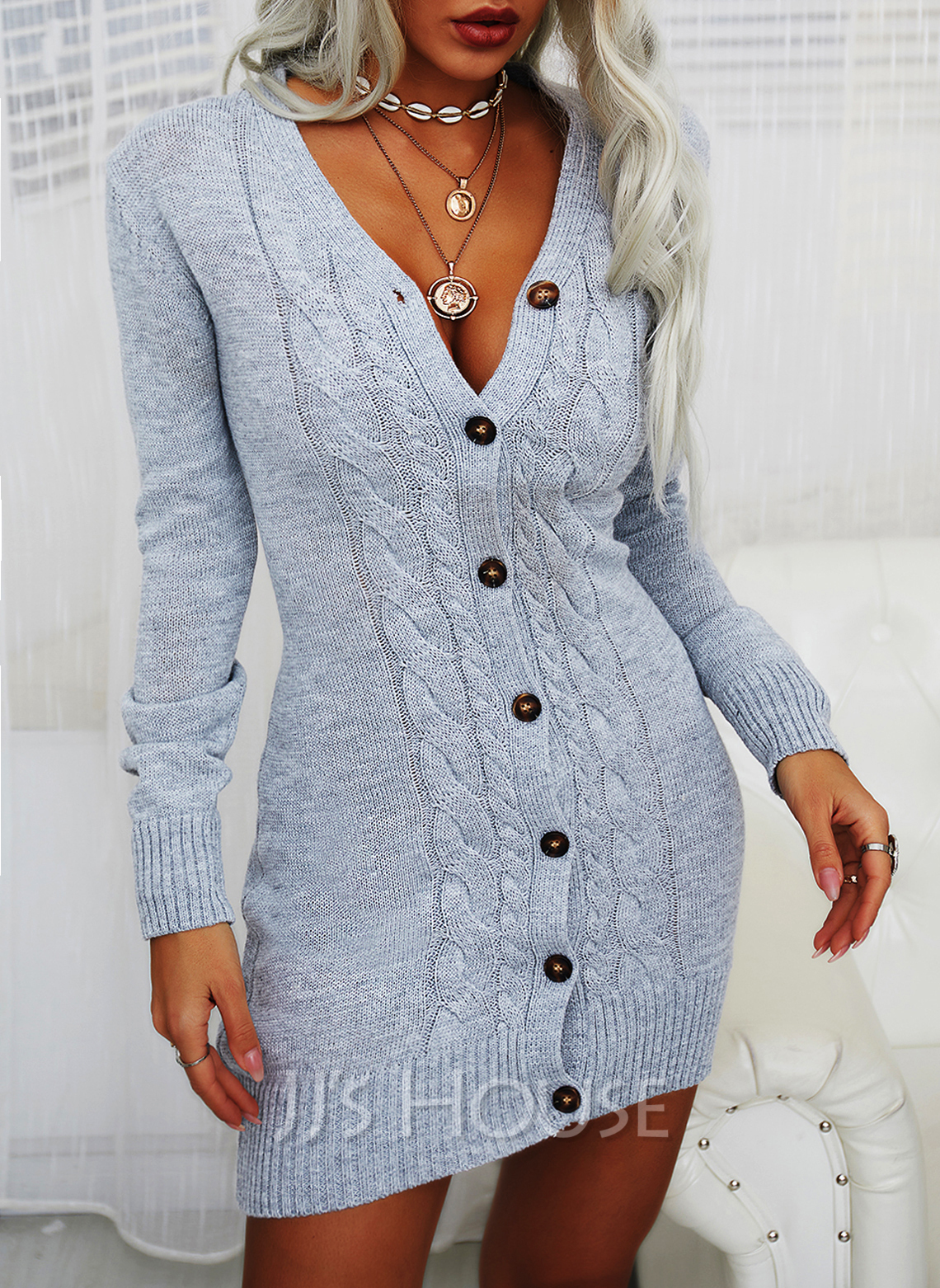 Solid Cable-knit V-Neck Long Sleeves Casual Long Tight Sweater Dress Dresses