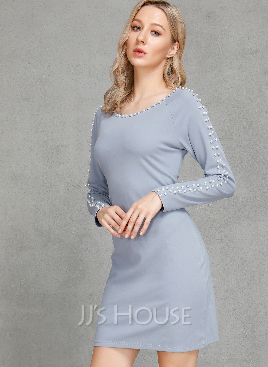 Linen With Solid Above Knee Dress