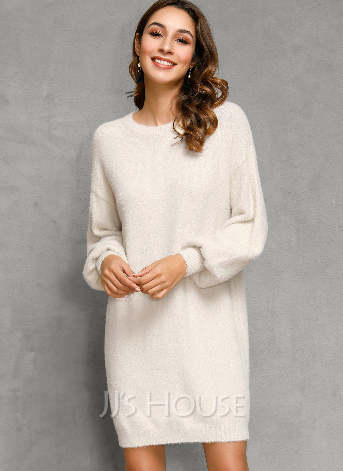 Chunky knit Solid Polyester Round Neck Pullovers Sweater Dresses Sweaters