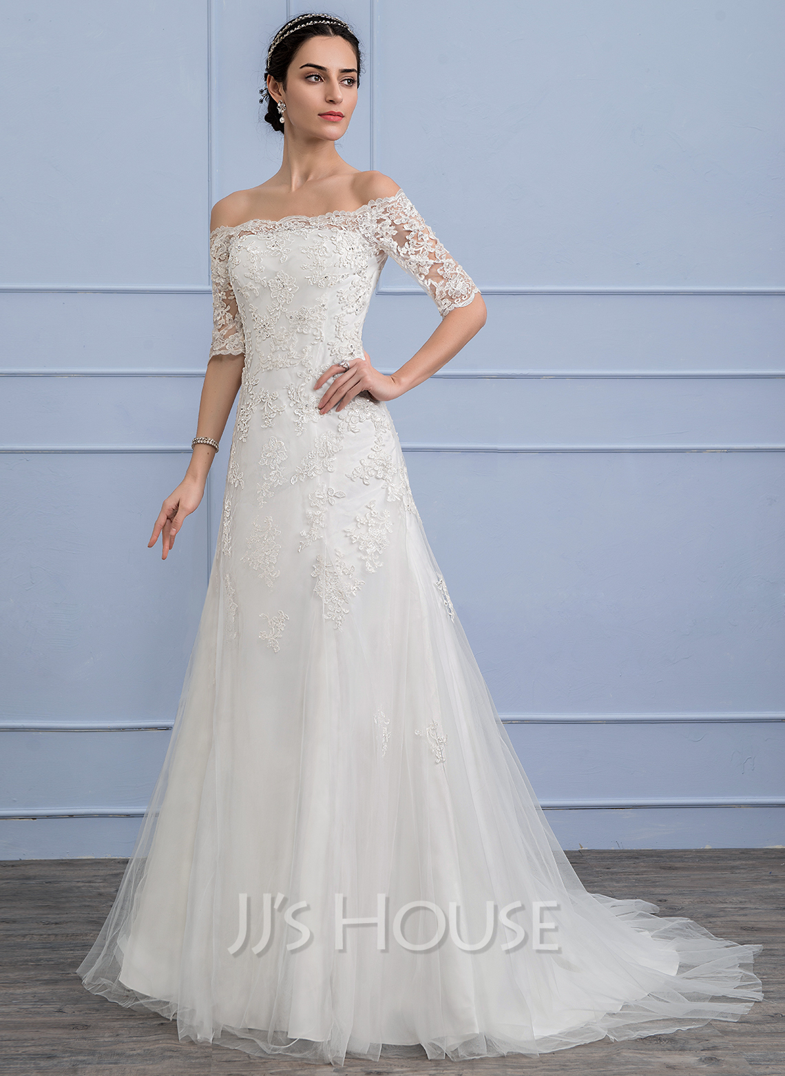 A line princess off the shoulder court train tulle lace for Tulle a line wedding dress